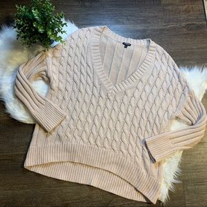 Express cable knit v neck sweater